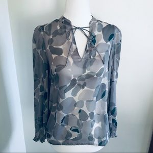 Loft XSP Stone Gray Quarter Length Sleeves Blouse